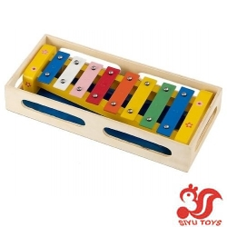Metal xylophone in box