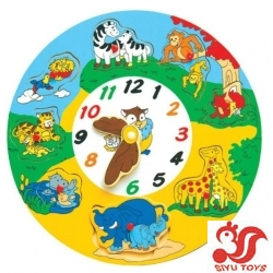 Puzzled Wooden Clock - Animals Wooden Toys