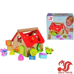 Wooden House with 12 Modelling Blocks Set of 15 18 x 17.5 x 18 cm